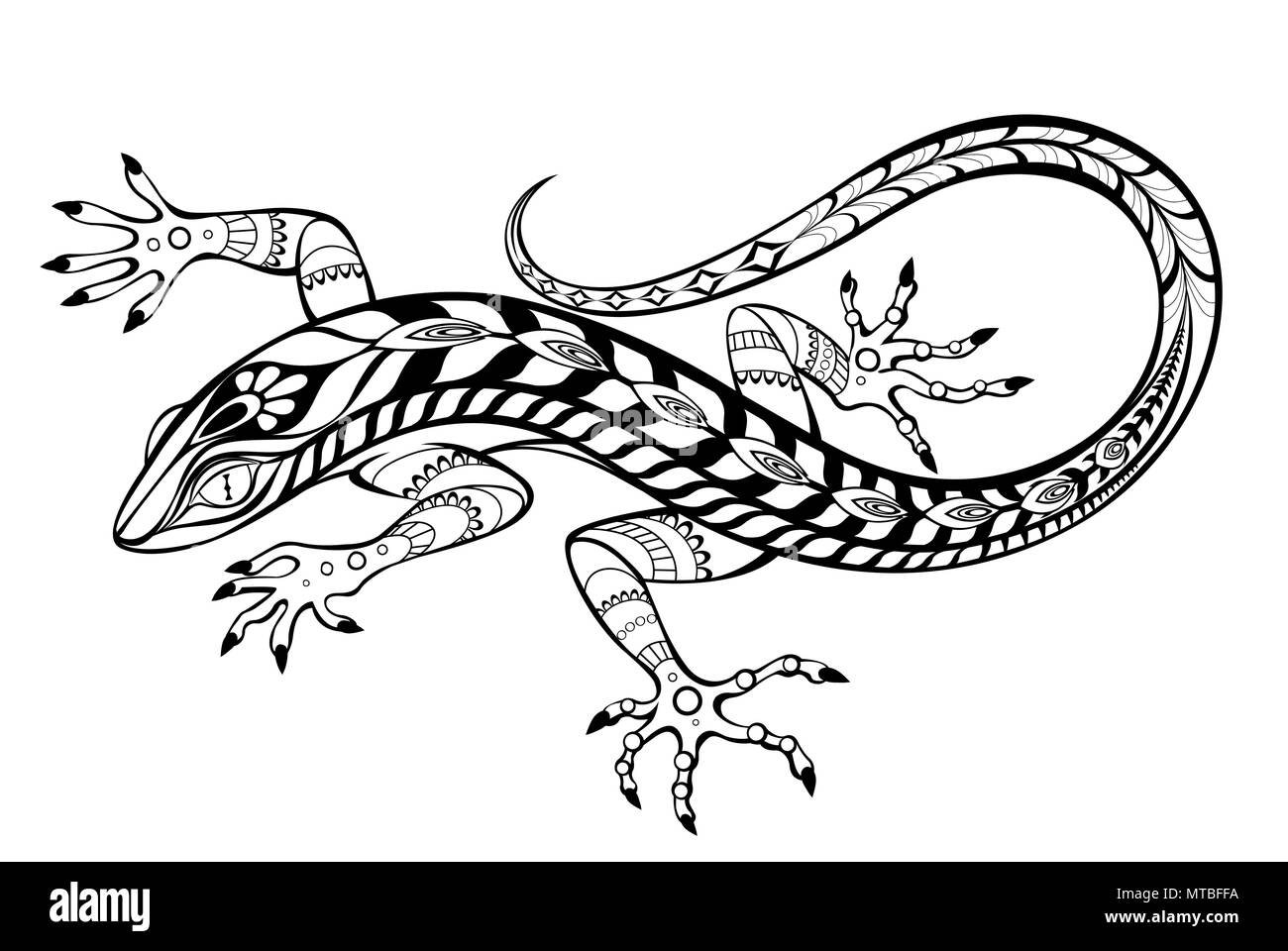 An artistically drawn, contour, patterned lizard on  white background. Tattoos style. - Stock Image