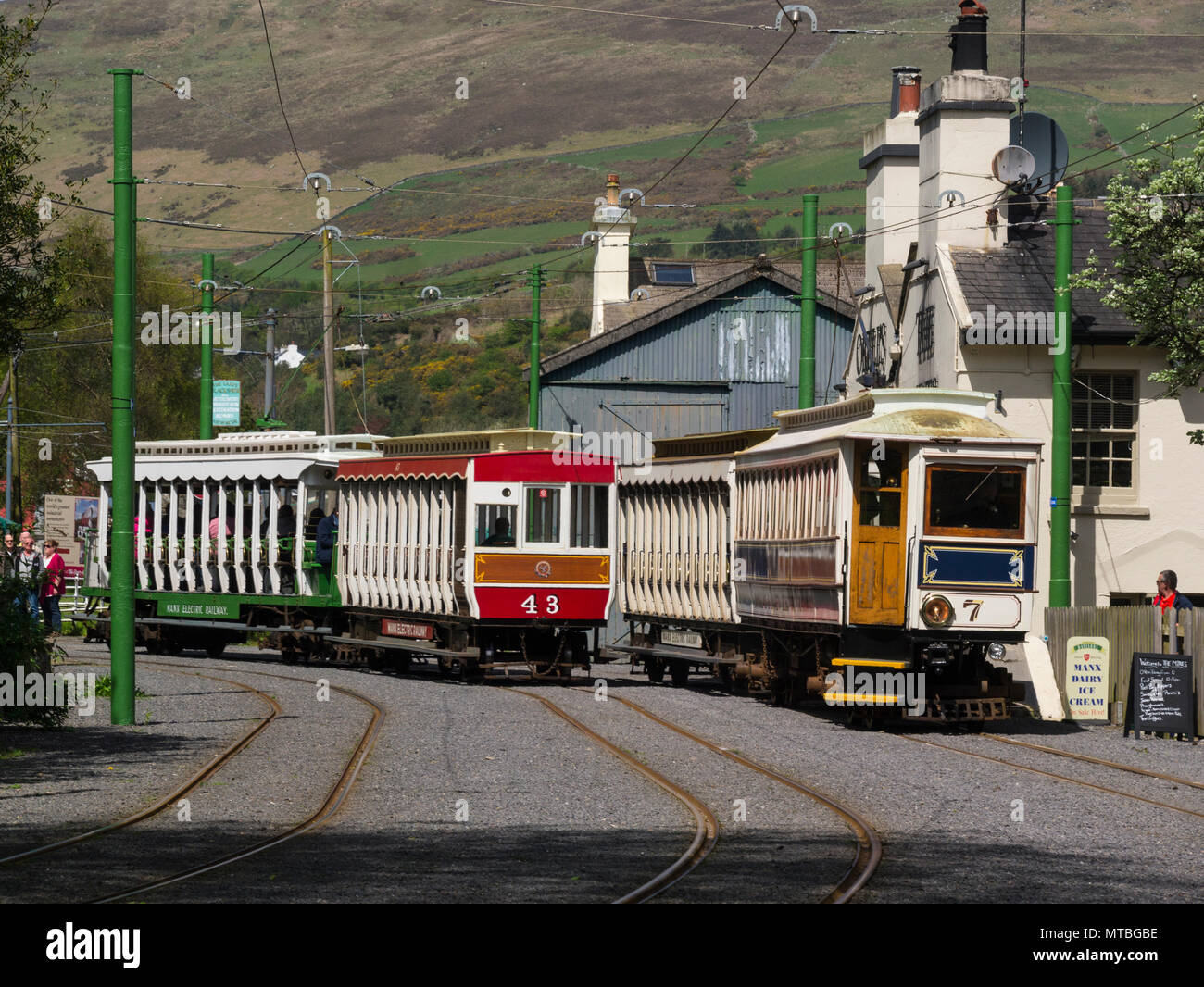 Two trains of Manx Electric Railway passing in Laxey Interchange Station Isle of Man electric interurban tramway connecting Douglas Laxey and Ramsey Stock Photo