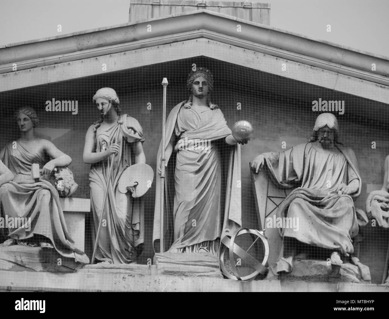 British Museum, Pediment from Great Russell Street, London, England - Stock Image