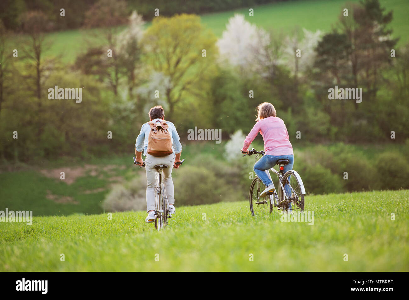 Beautiful senior couple with bicycles cycling outside in spring nature. - Stock Image