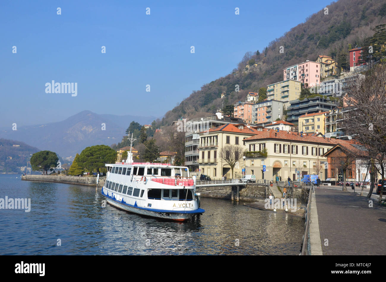 The waterfront of the city of Como (Lungo Lario Trieste), Lake Como, Lombardy, Italy, January 2018 - Stock Image
