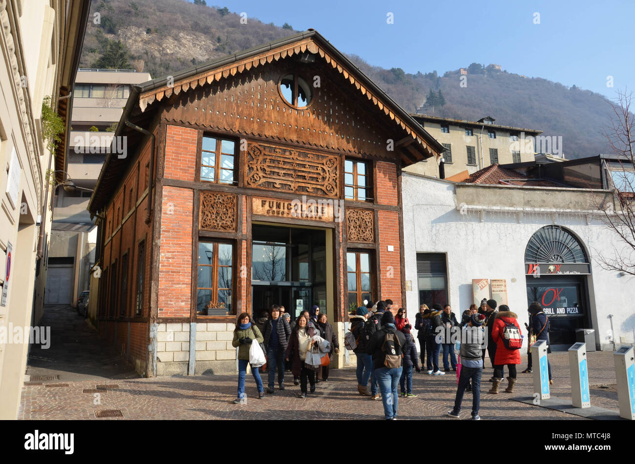 The entrance to the Como-Brunate funicular railway, Como, Lake Como, Lombardy, Italy, January 2018 - Stock Image
