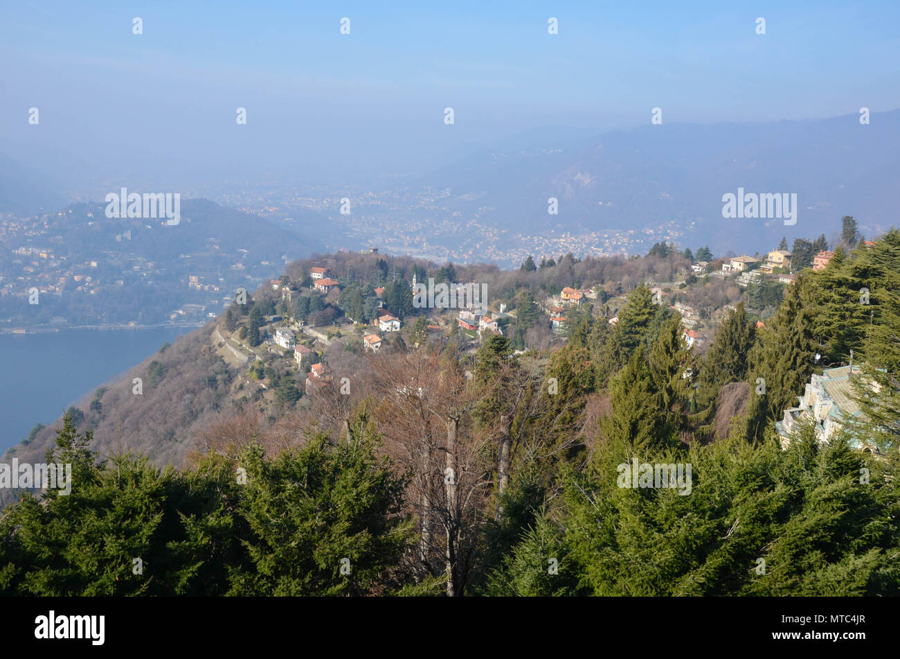 View of Lake Como from the village of Brunate, Lombardy, Italy, January 2018 - Stock Image
