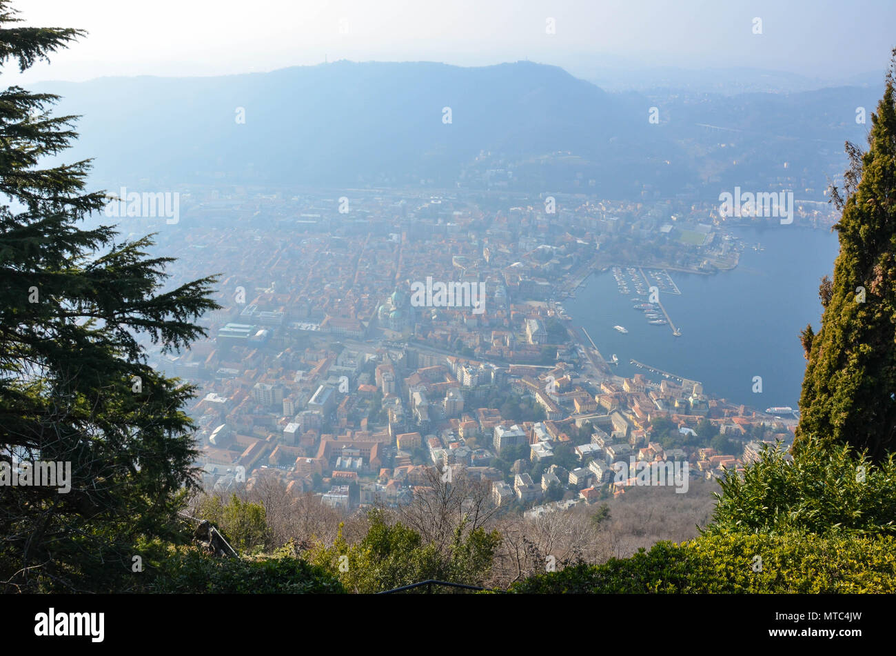 View of the city of Como from the village of Brunate, Lake Como, Lombardy, Italy, January 2018 - Stock Image