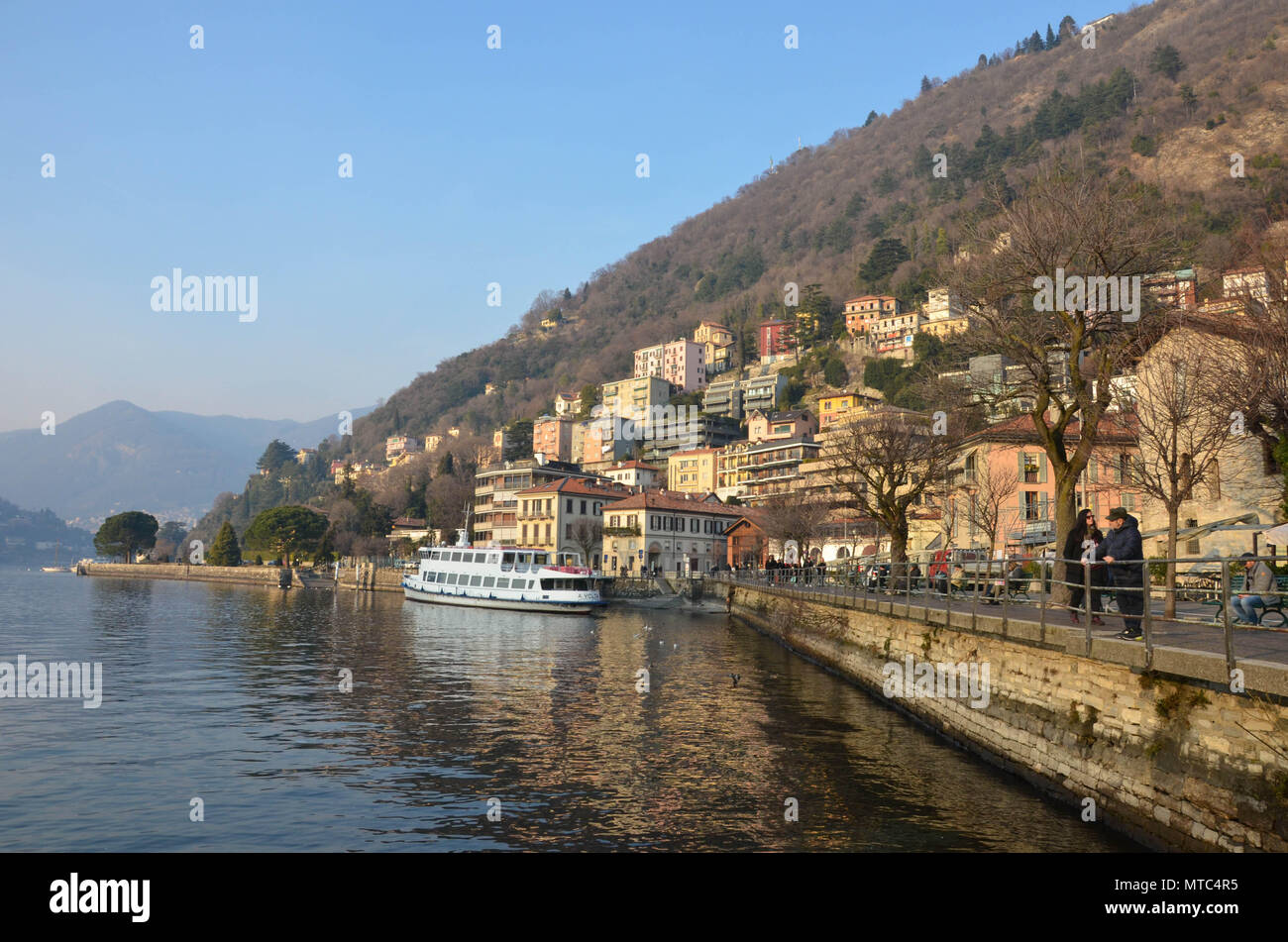 The waterfront of the city of Como (Lungo Lario Trieste), Como, Lake Como, Lombardy, Italy, January 2018 - Stock Image