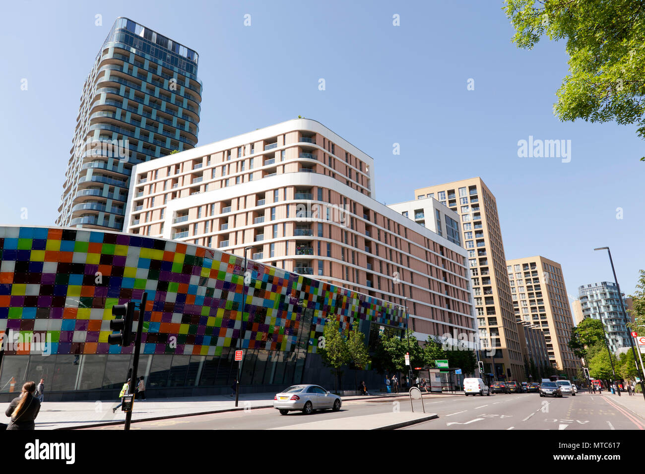Loampit Vale, looking more  like Croydon, because of  high-rise, high massing  developments passed by Steve Bullock and Heidi Alexander Stock Photo