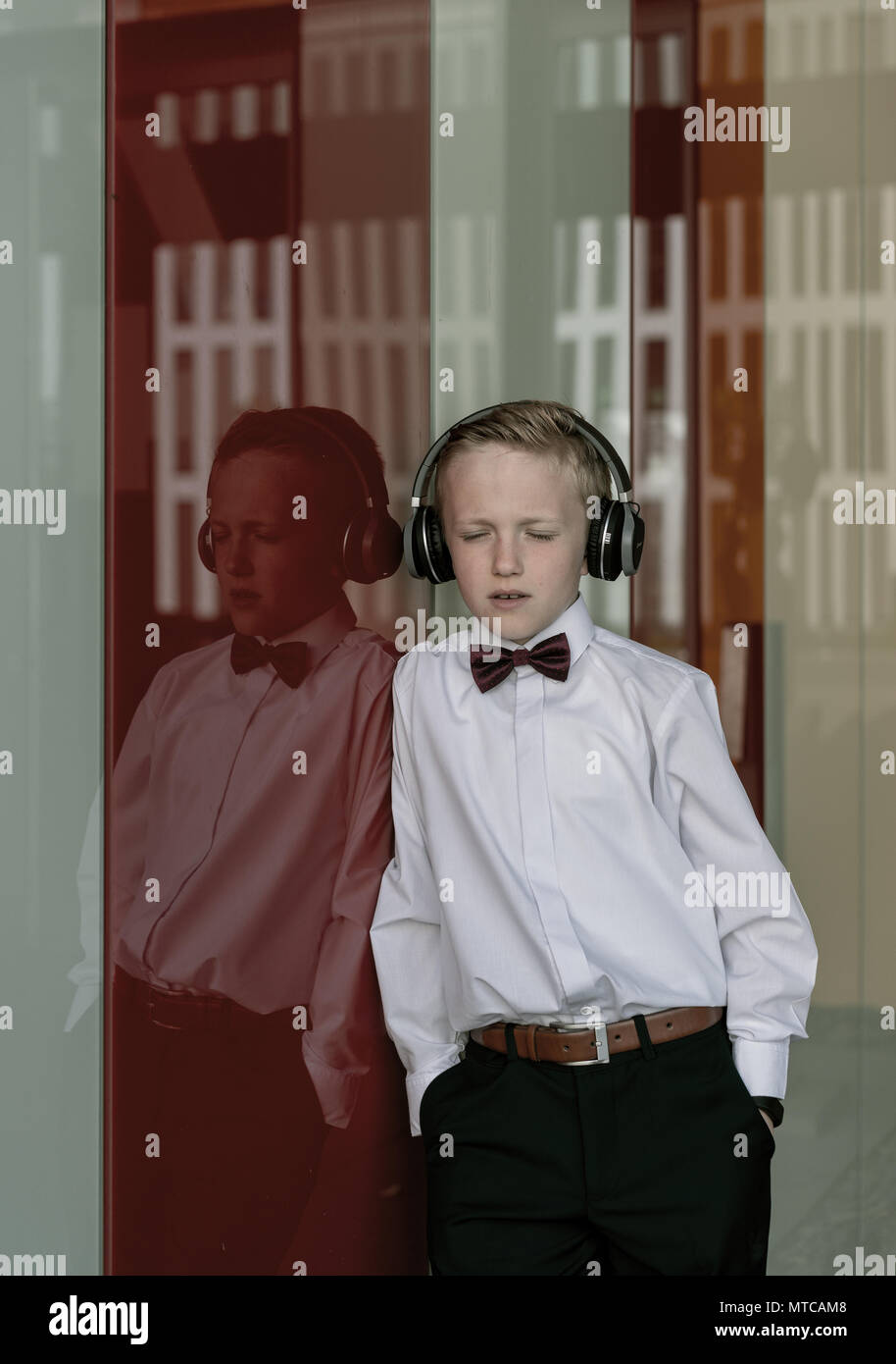 Boy with headphones. Stock Photo