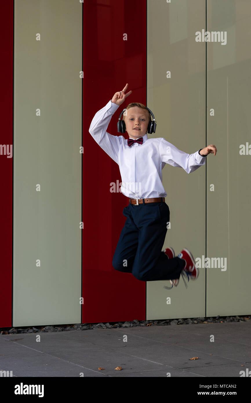 Boy with headphones. Stock Photo