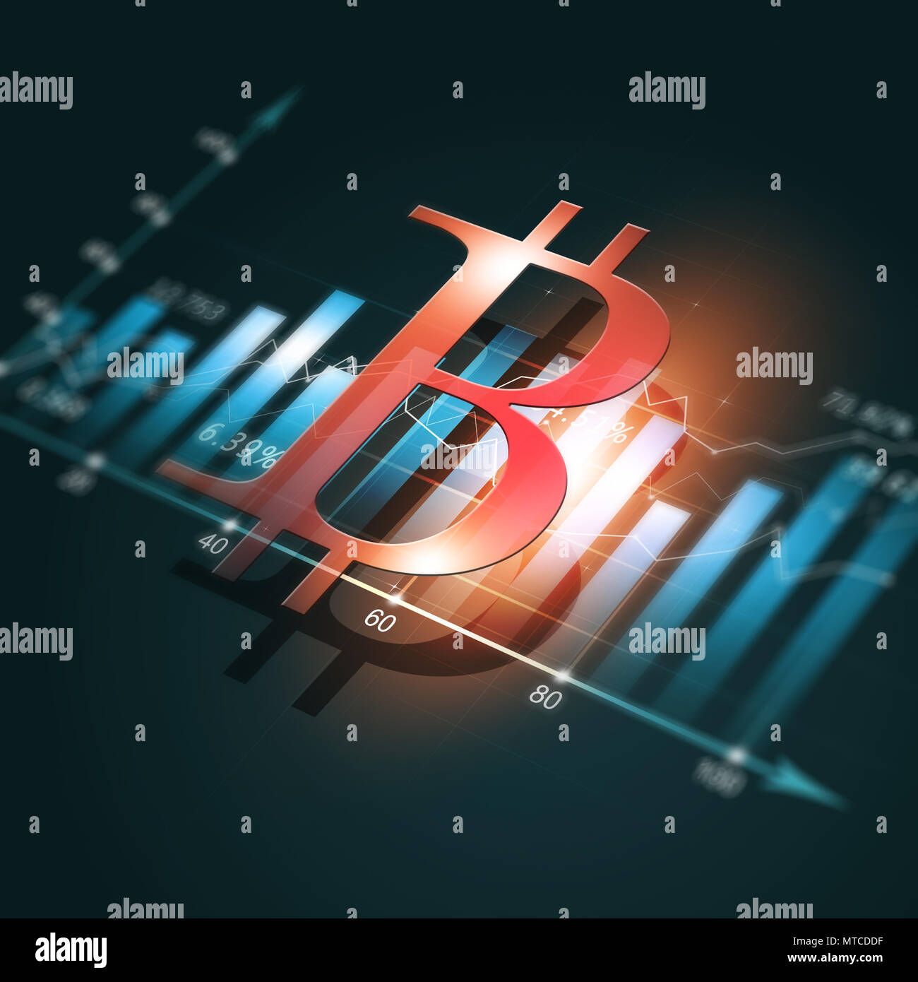 crypto currency stock finance diagram with bitcoin - Stock Image