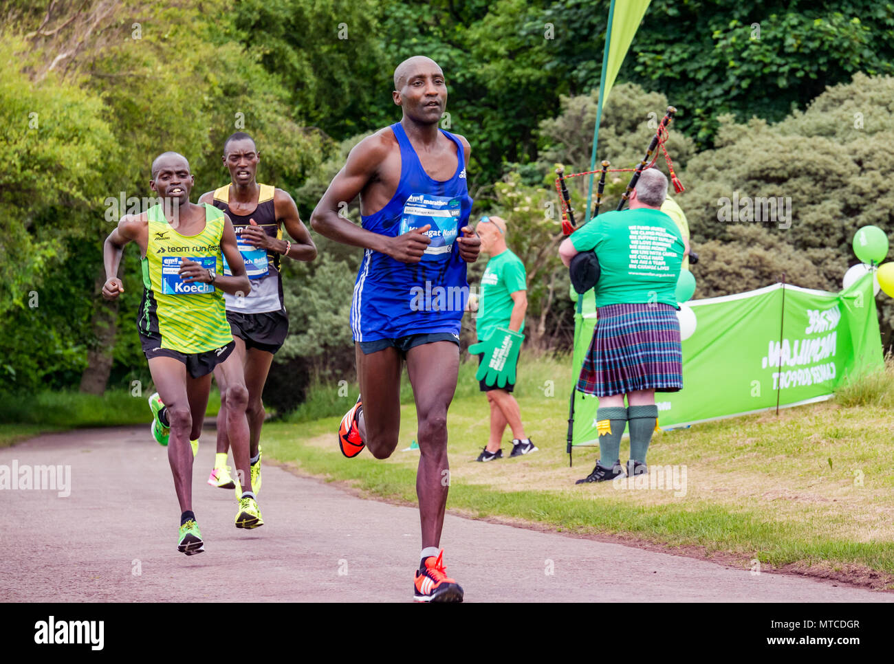Gosford Estate, East Lothian, Scotland, UK. 28th May 2017 Elite Kenyan male runners Stanley Kiprotich Bett, Kiplagat Korir and Japhet Koech, Edinburgh - Stock Image