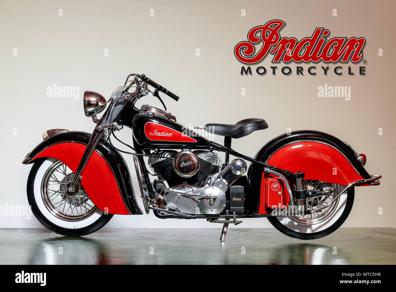 Cardiff, Wales, UK, July 26, 2015: Closeup of a Scale Model Indian Big Chief Motorcycle Stock Photo