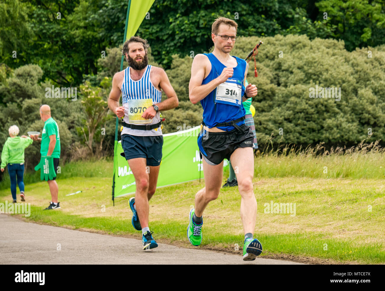 Gosford Estate,  East Lothian, Scotland, UK. 28th Ma, 2017. Male marathon runners, Robert Kalicinski, placed in top 50 finishers, Edinburgh Marathon - Stock Image