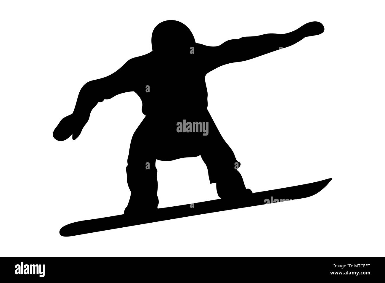 male snowboarder jump and flight black silhouette - Stock Image