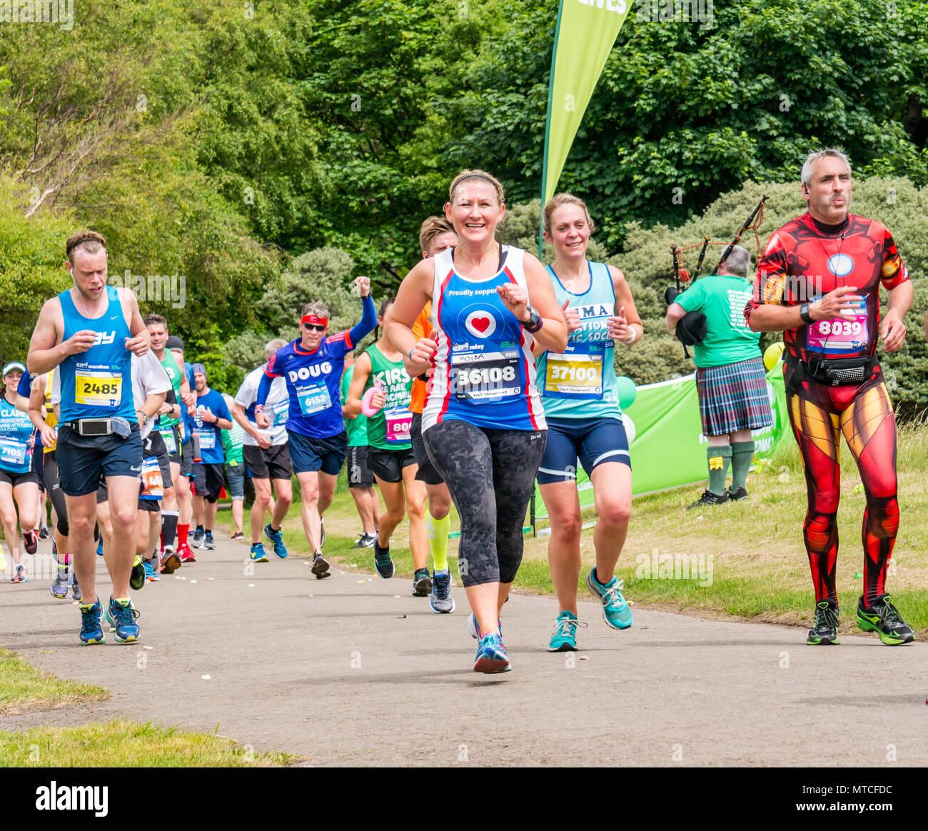 Gosford Estate, East Lothian, Scotland, UK. 28th May 2017. Male and female marathon runners in Edinburgh Marathon at Mile 18 - Stock Image