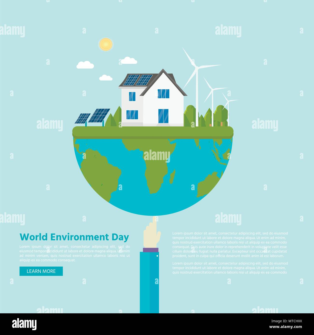 Environmental Concept Earthfriendly Landscapes: Happy World Environment Day Postcard With Green City