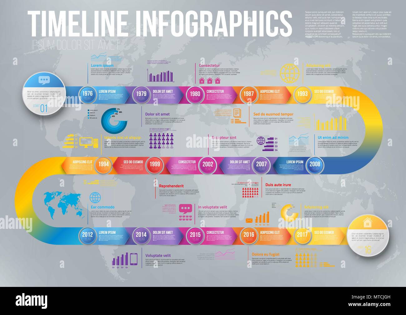 colorful template business concept timeline arrows infographics