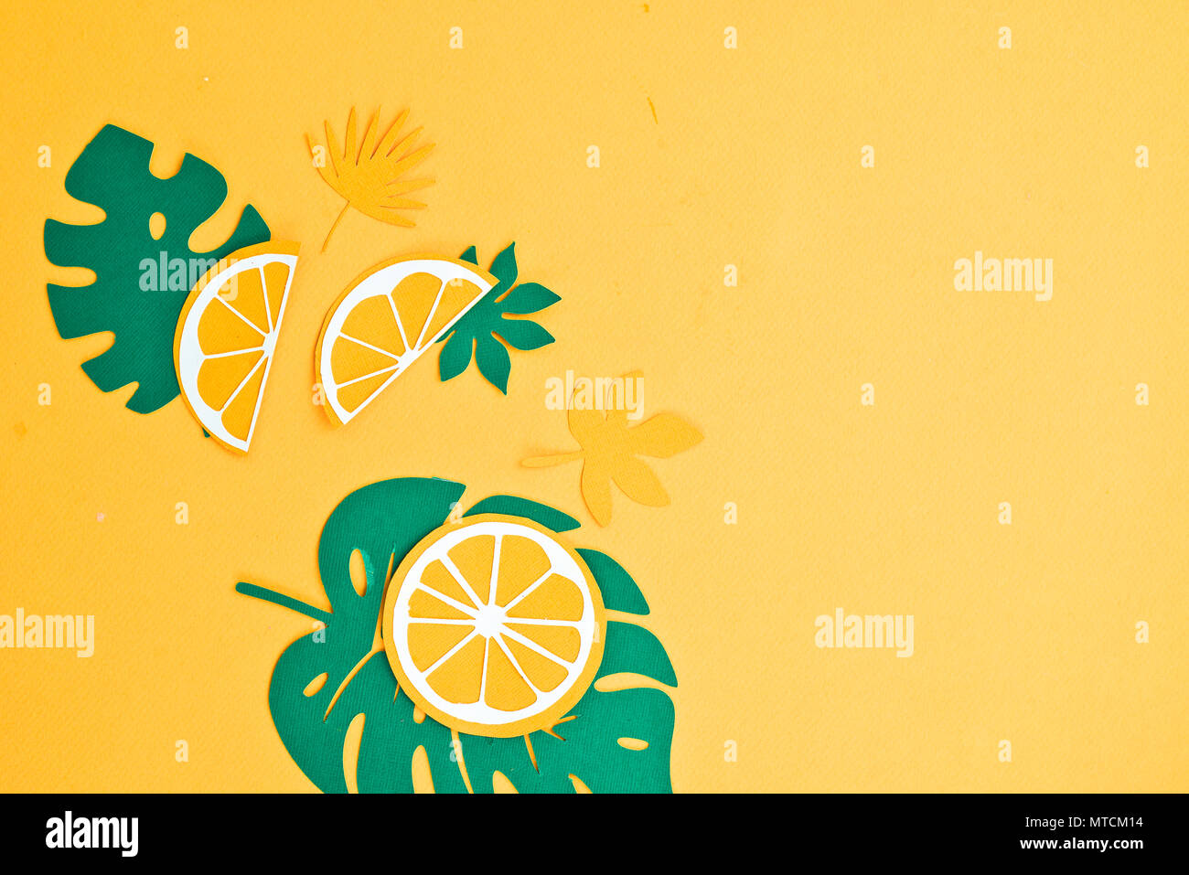 header with lemon slices and tropical leaves pattern on a bright
