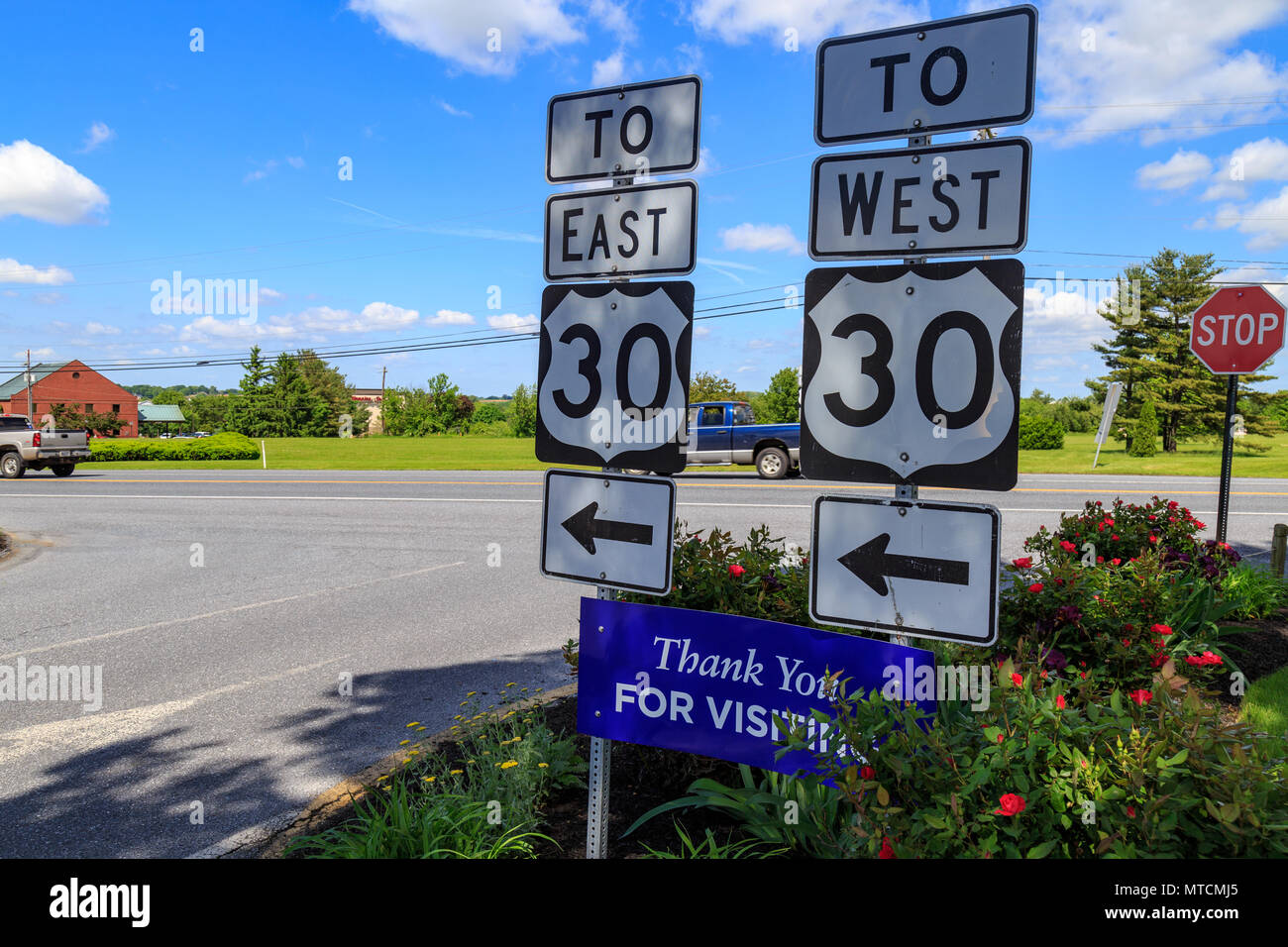 lancaster, pa, usa - may 23, 2018: directional signs to us route 30