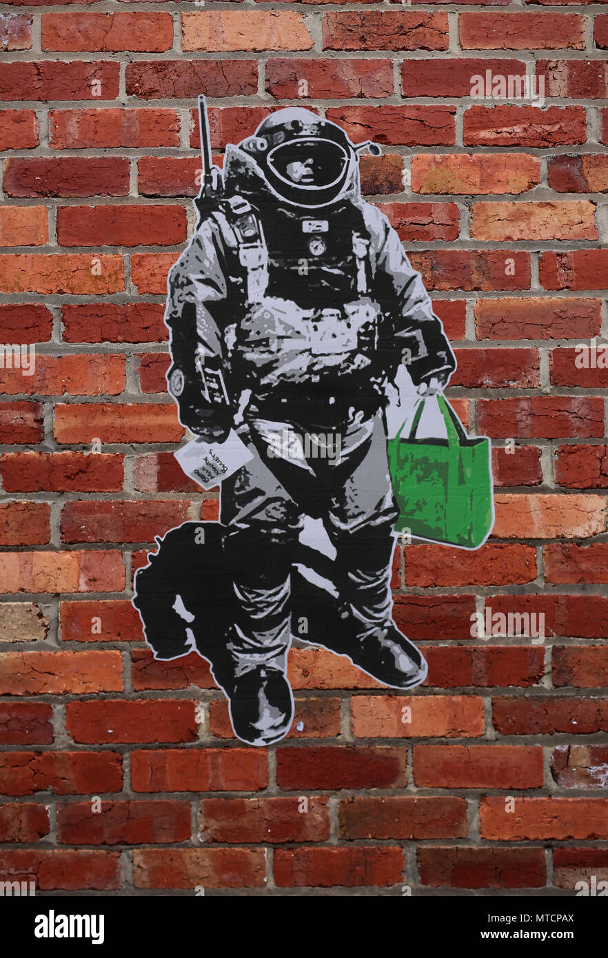 Street art satirizing the 'weaponized' climate of fear in daily life. Artist - The Crank Institute - Stock Image