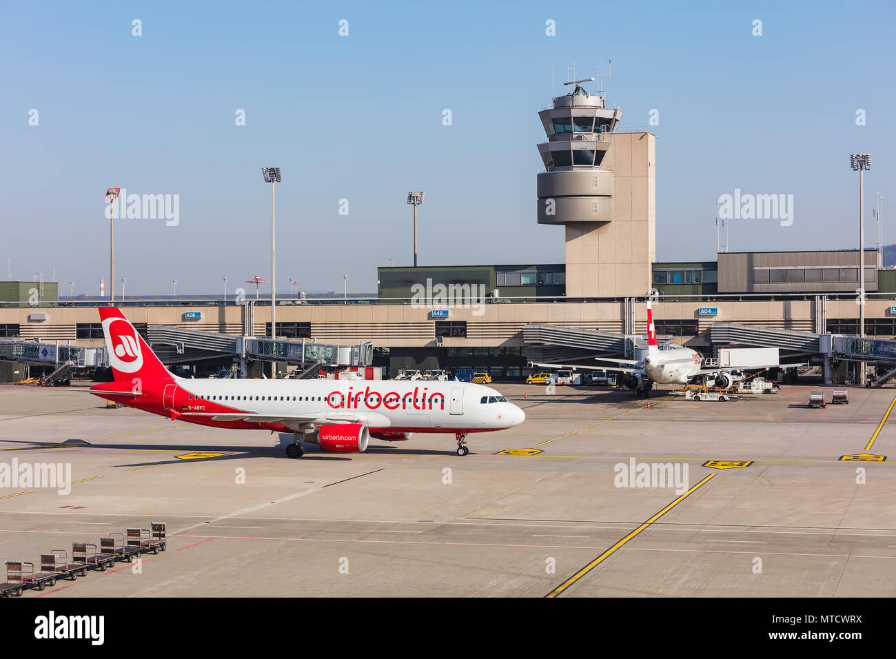 An Airbus A320-214 of Air Berlin taxiing at Zurich airport. - Stock Image