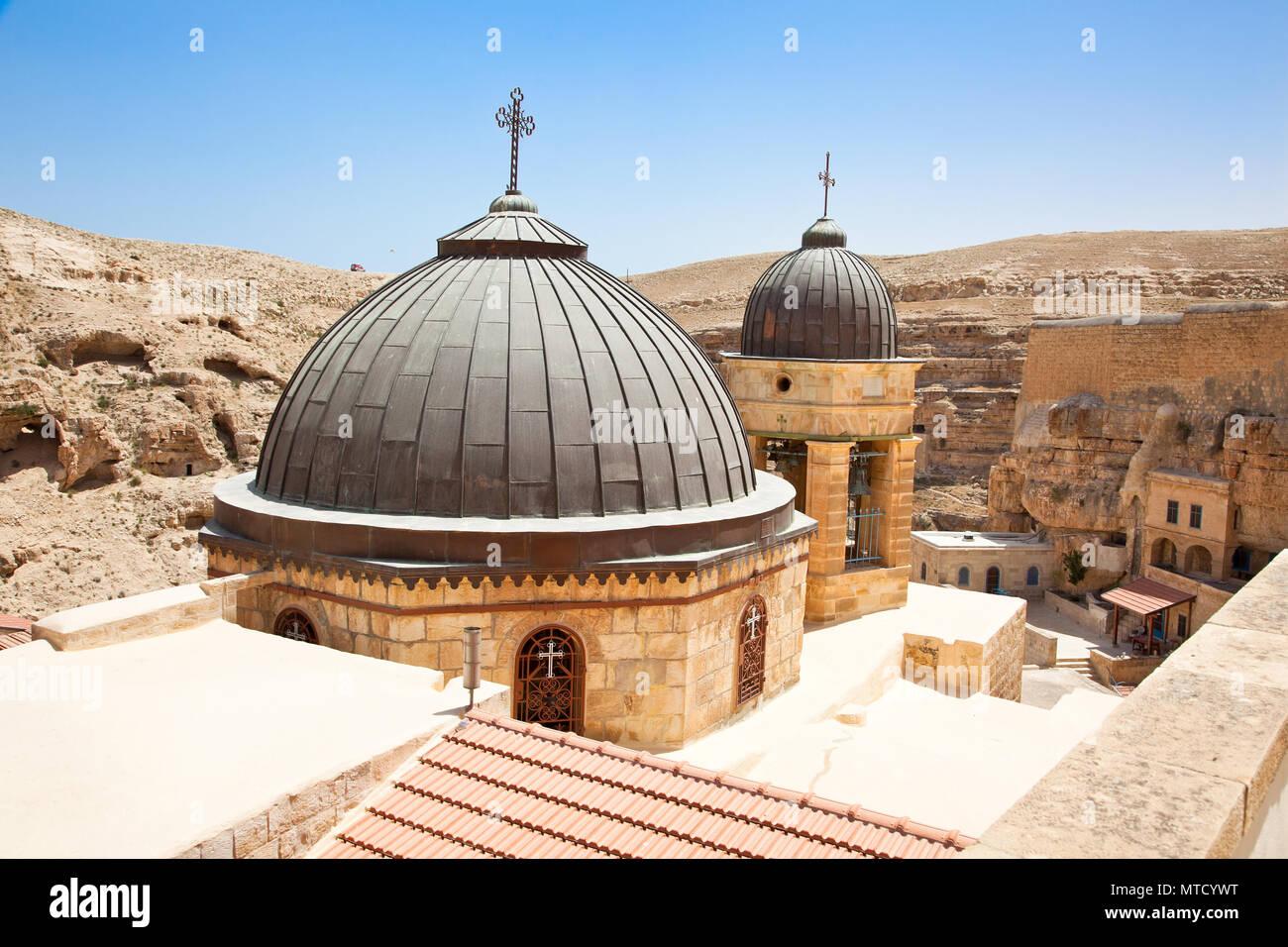 Greek Orthodox monastery Great Lavra of St. Sabbas the Sanctified (Mar Saba) in Judean desert. Palestine, Israel. - Stock Image