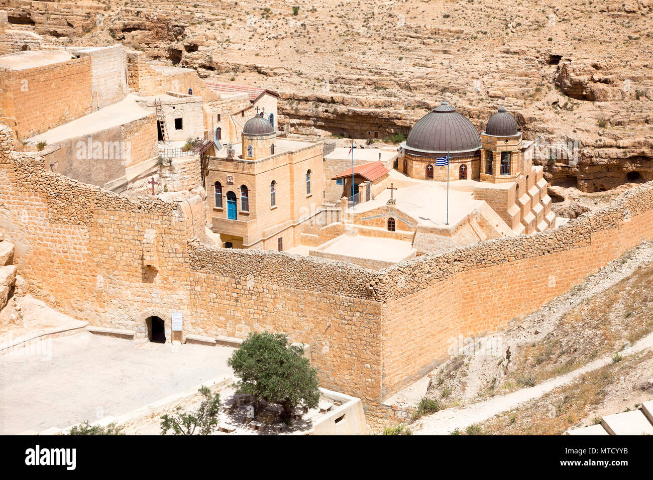 Greek Orthodox monastery Great Lavra of St. Sabbas the Sanctified (Mar Saba) in Judean desert. Palestine, Israel. Stock Photo