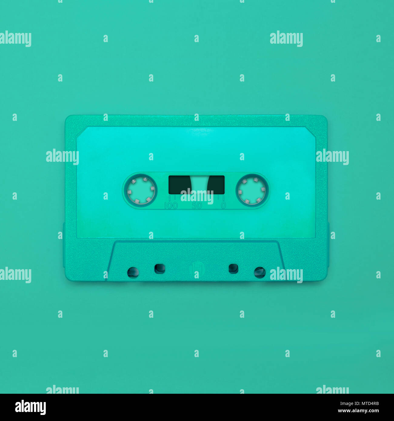 Cassette tape close up, blank for customisation of label; obsolete music technology for nostalgic creative design web & print - Stock Image