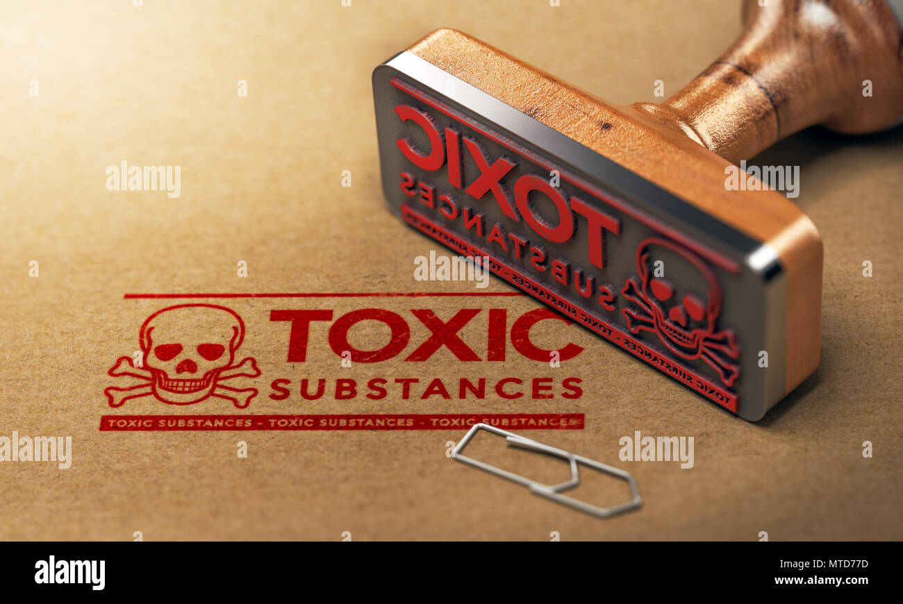 3D illustration of a rubber stamp with the text toxic substances stamped on paper background - Stock Image
