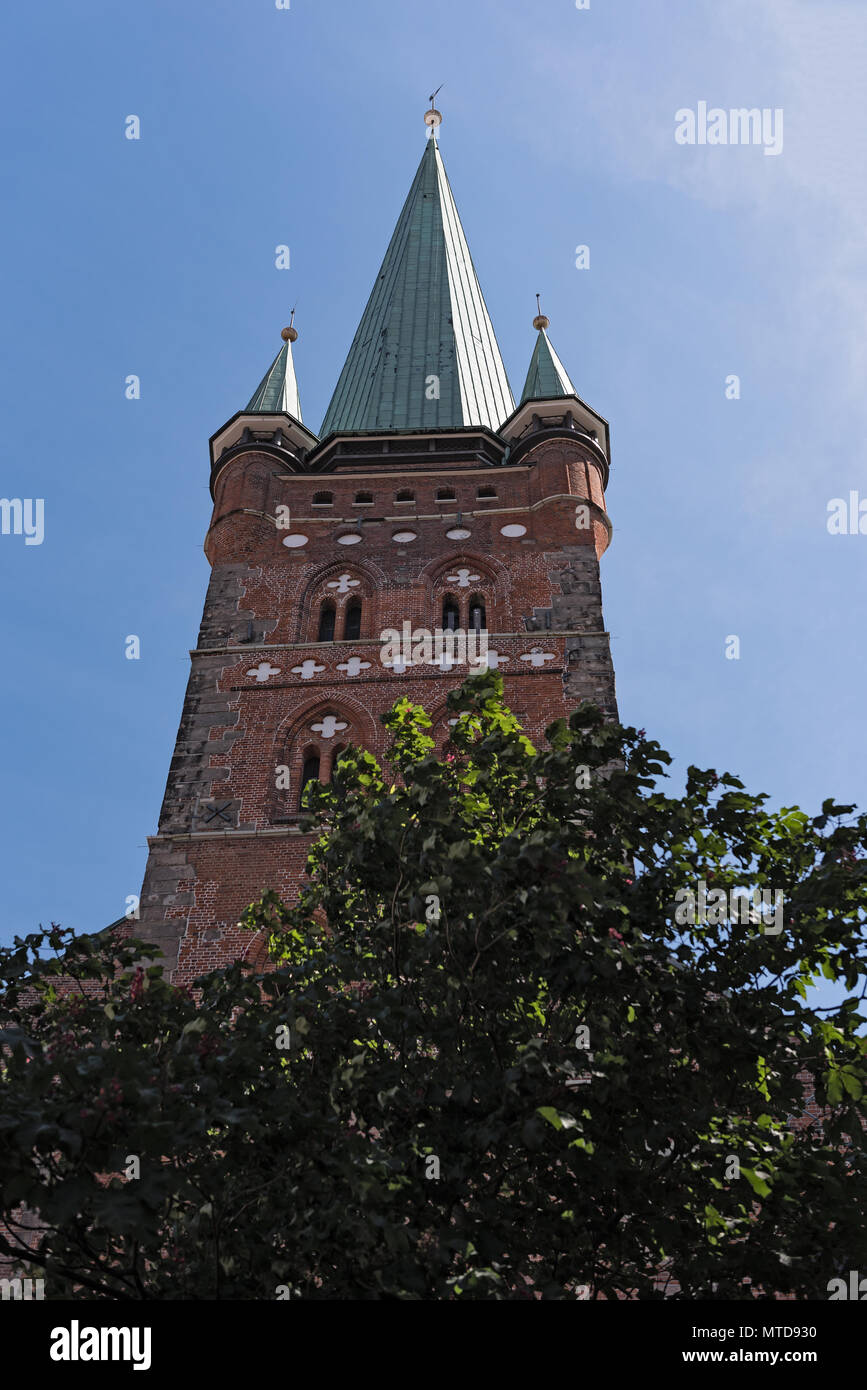 the tower of st. peters church in lubeck, germany - Stock Image