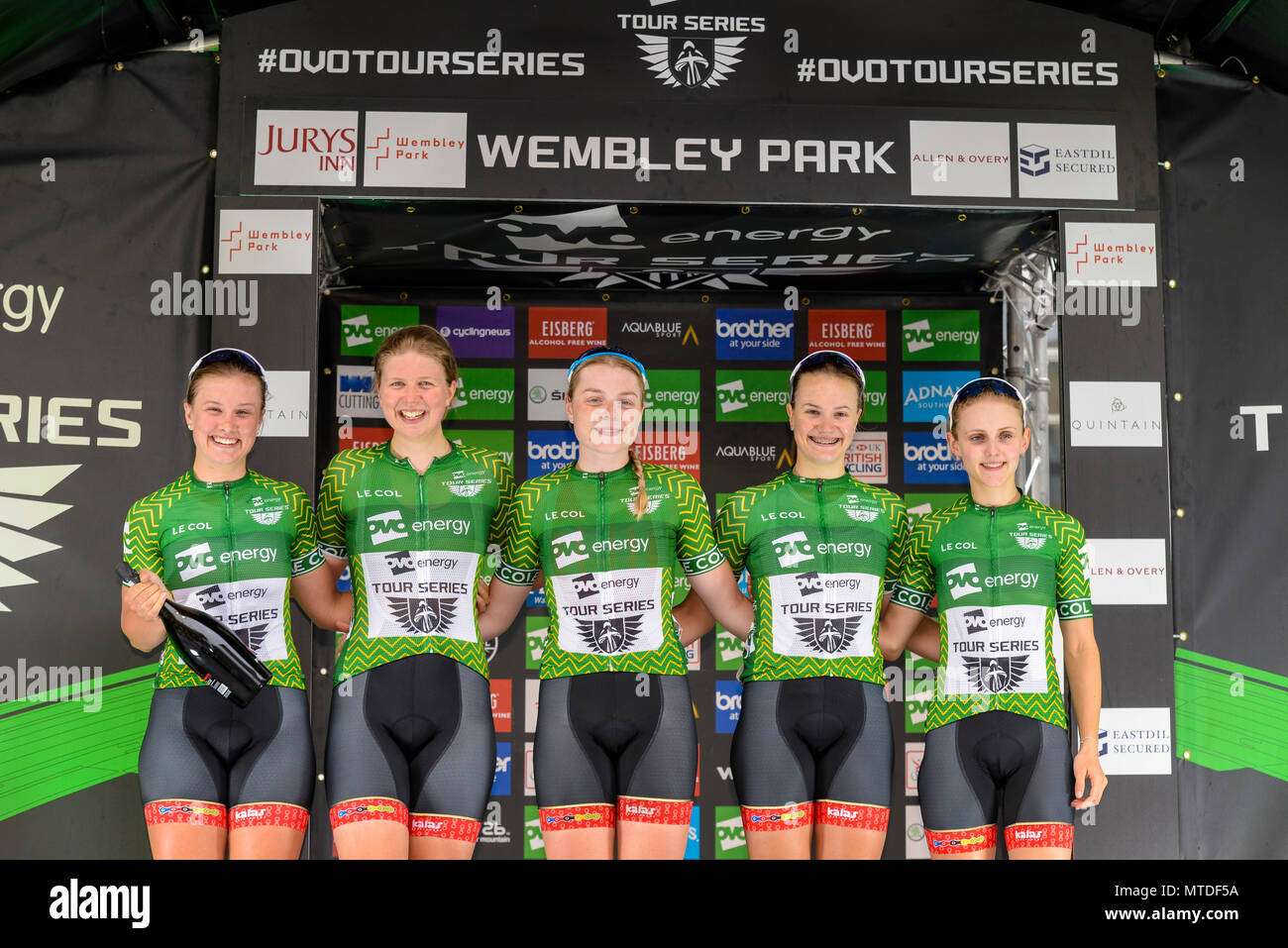 Team Breeze girls leaders in the elite women's 2018 OVO Energy Tour Series cycle race at Wembley, London, UK. Round 7 bike race. Podium Stock Photo