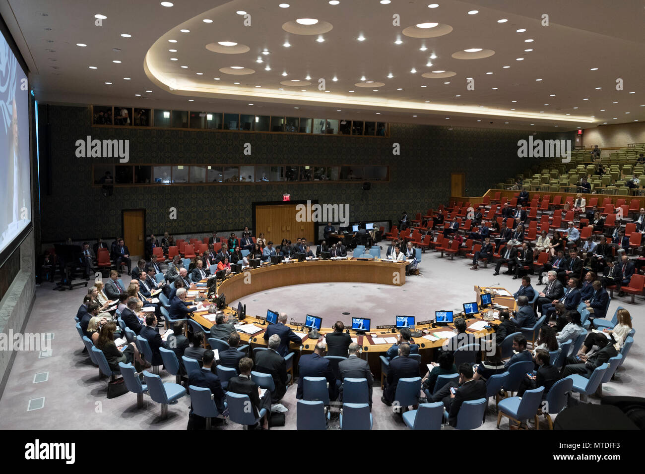 United Nations. 29th May, 2018. Photo taken on May 29, 2018 shows a general view of a Security Council meeting on Ukraine, at the United Nations headquarters in New York. UN Undersecretary-General for Political Affairs Rosemary DiCarlo on Tuesday deplored the stalemate in eastern Ukraine, reminding the world that the conflict is very much alive. Credit: Li Muzi/Xinhua/Alamy Live News - Stock Image