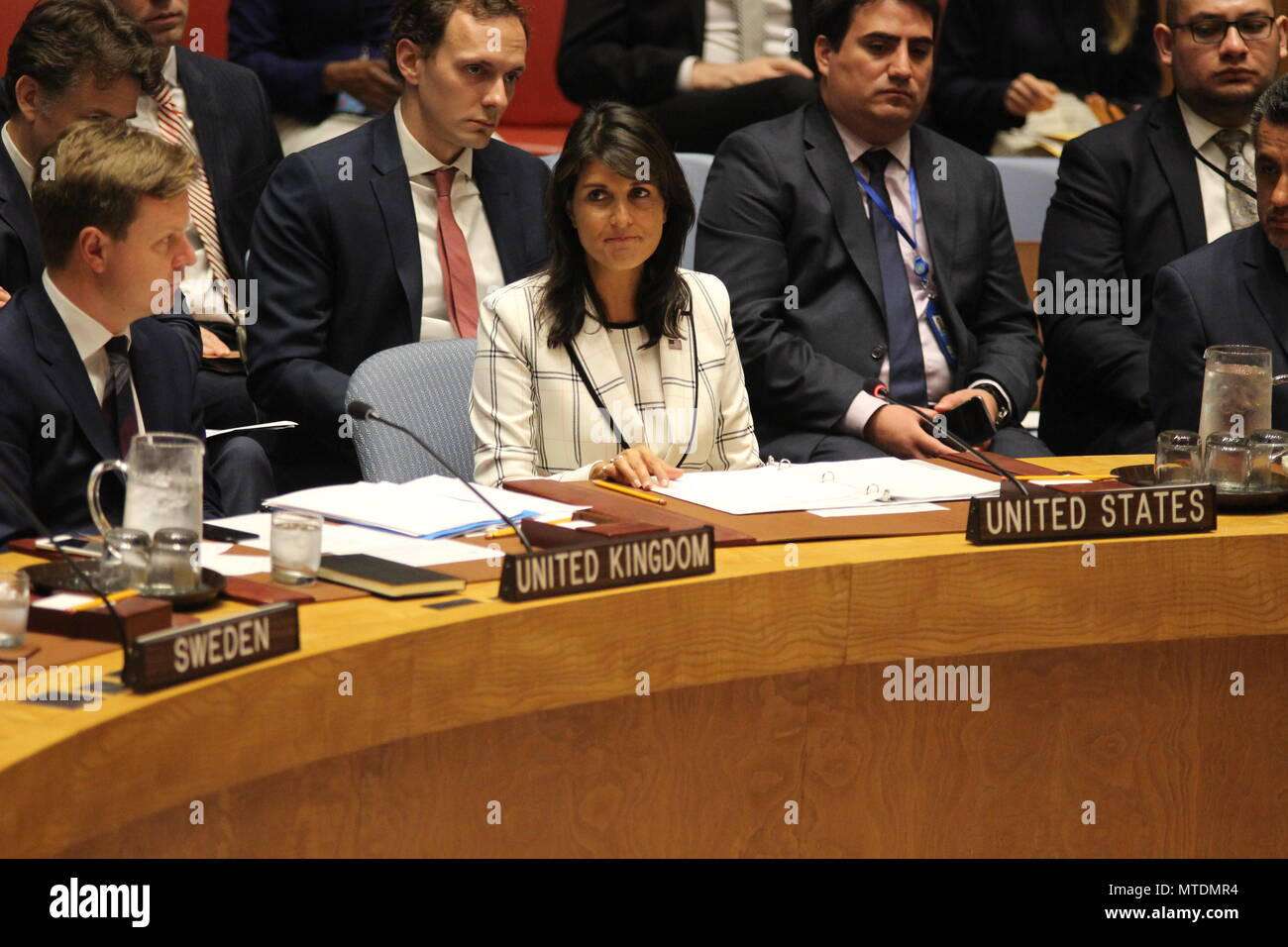 UN, New York, USA. 30th May, 2018. Nikki Haley, US Ambassador, spoke in UN Security Council about Iraq. Photo: Matthew Russell Lee / Inner City Press - Stock Image