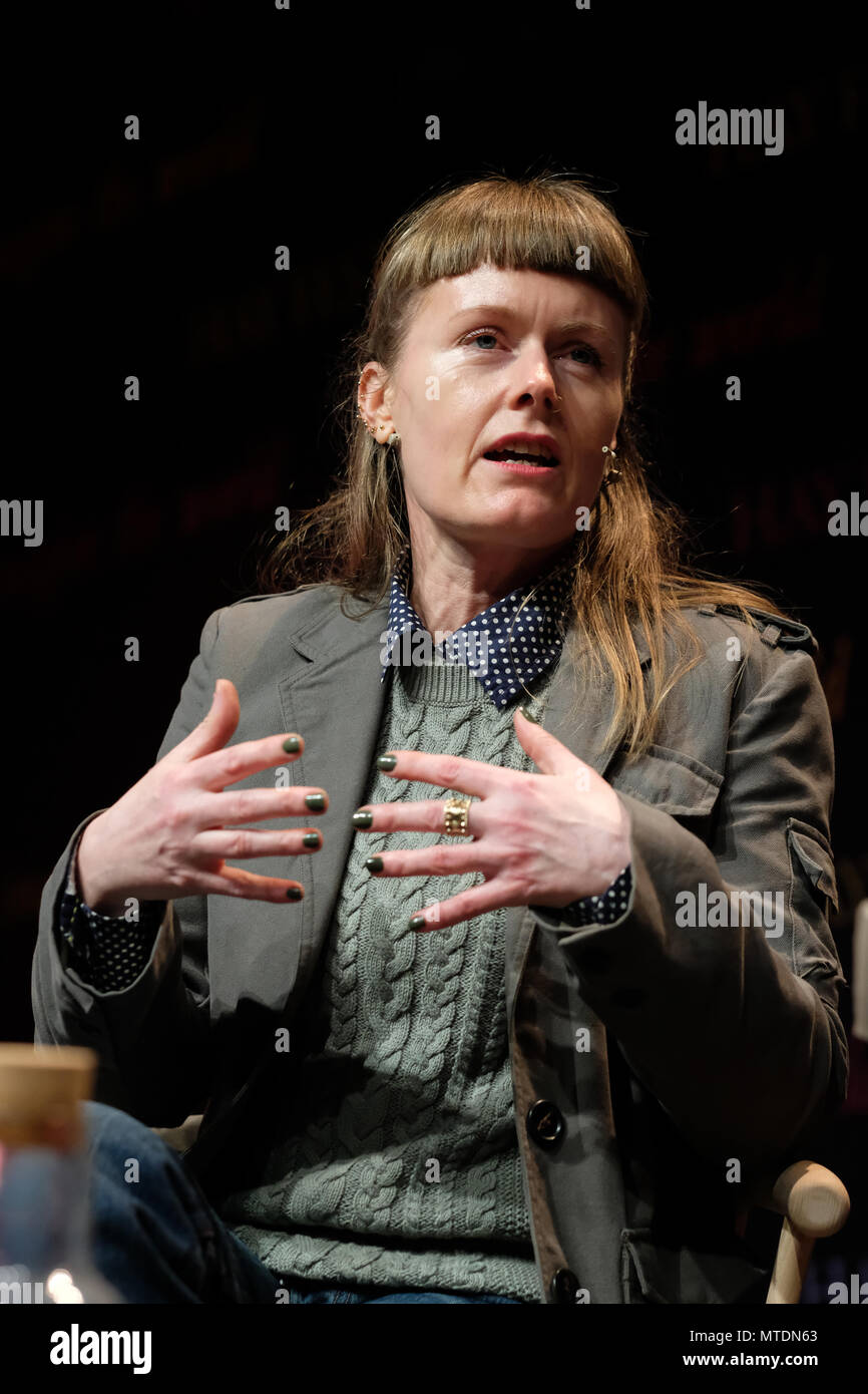 Hay Festival, Hay on Wye, UK - Wednesday 30th May 2018 - Author Nicola Barker talks about her new post-post apocalyptic novel H(A)PPY - Photo Steven May / Alamy Live News - Stock Image