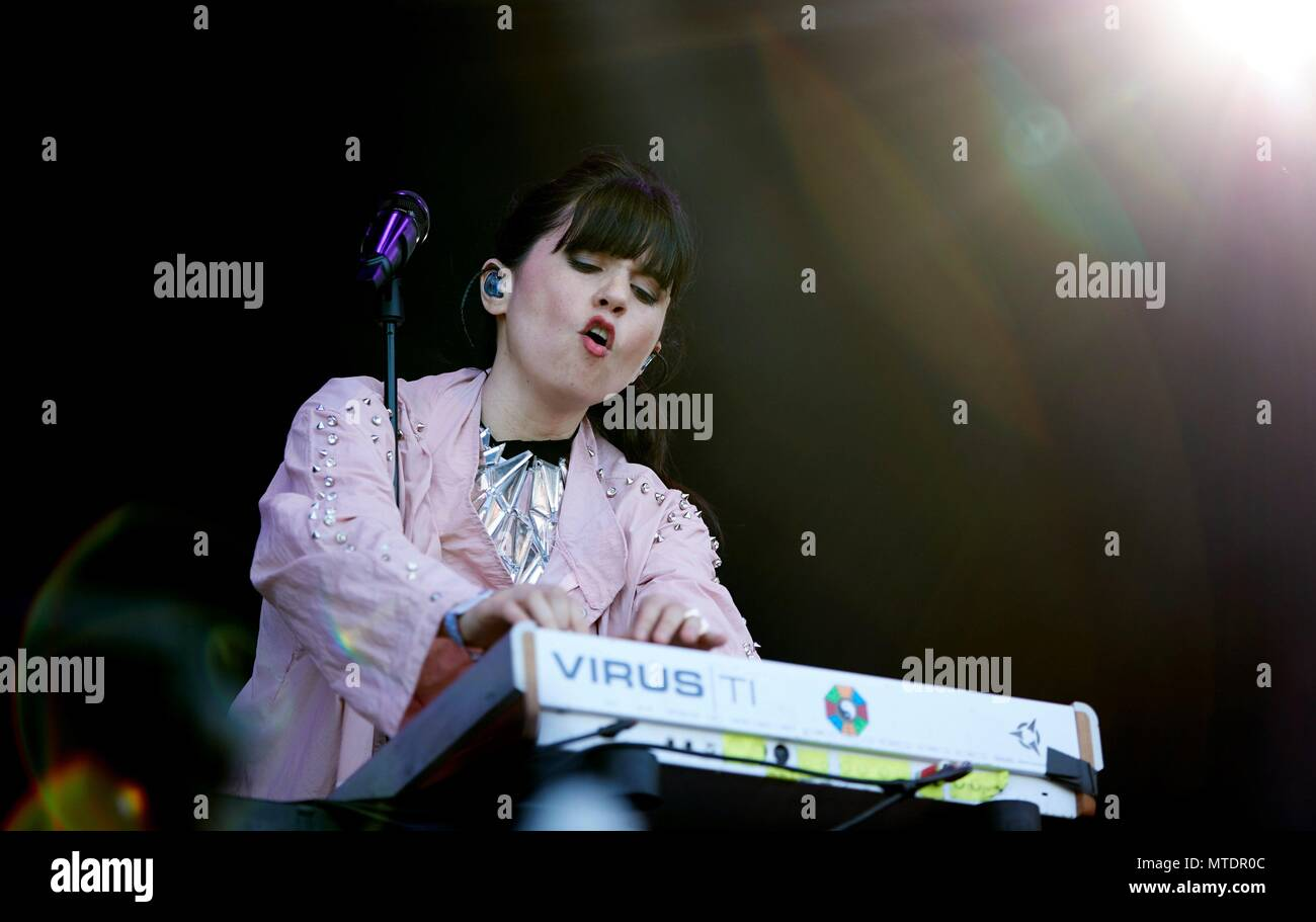 Barcelona, Spain. 30th May, 2018. Chilean singer Javiera Mena performs during the Primavera Sound Festival at the Forum facilities in Barcelona, Spain, 30 May 2018. Credit: ALEJANDRO GARCIA/EFE/Alamy Live News - Stock Image