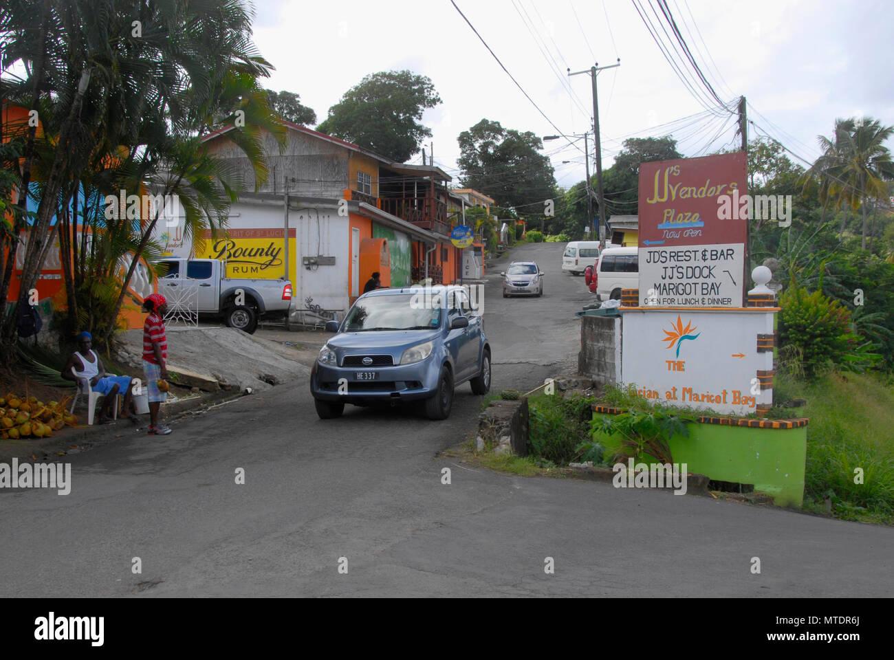 Roadside scene, Marigot Bay, St Lucia, Caribbean - Stock Image