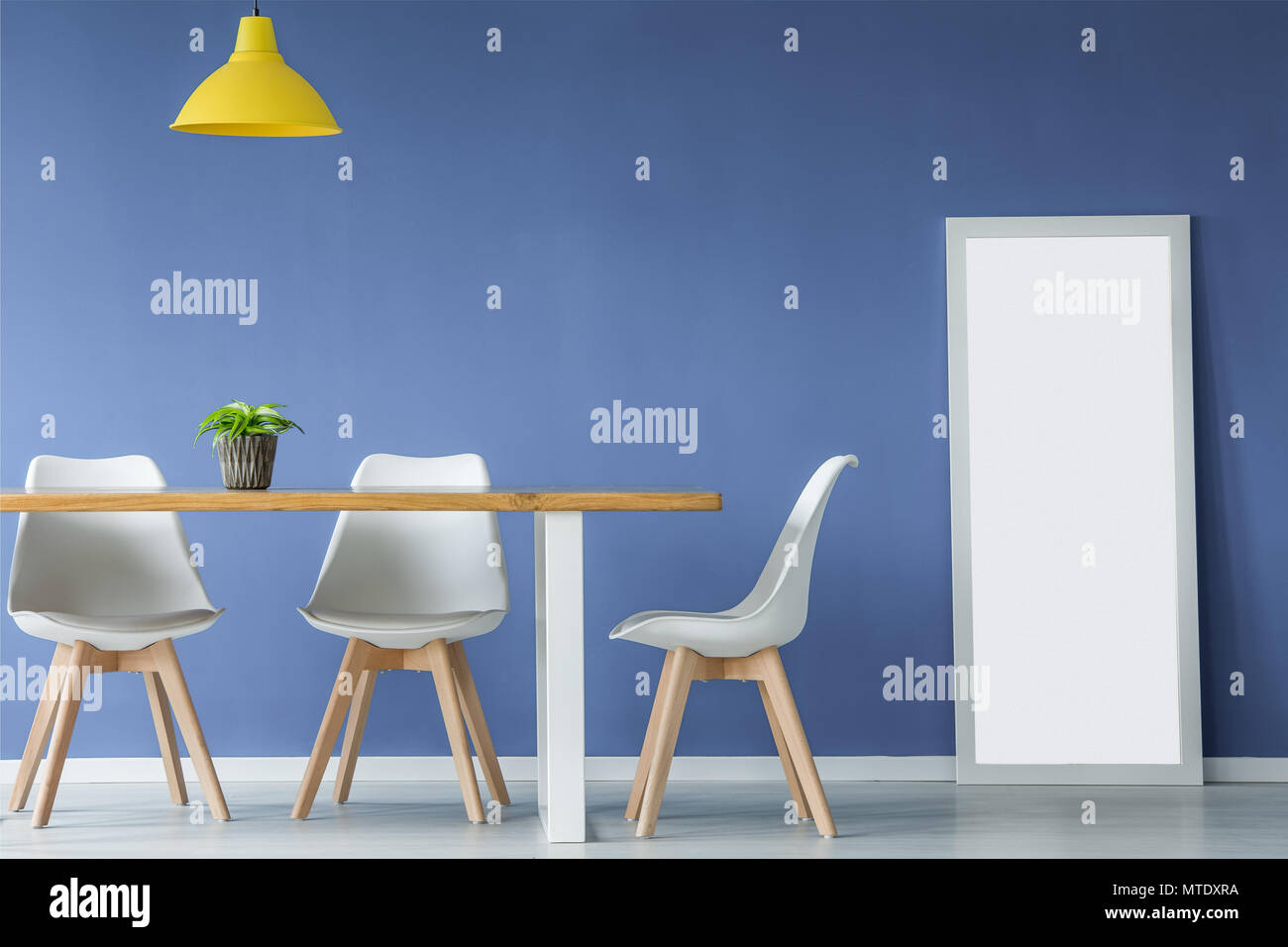 Modern open space interior with white and wooden chairs, table with a plant on top, yellow lamp and a mirror standing against blue wall - Stock Image