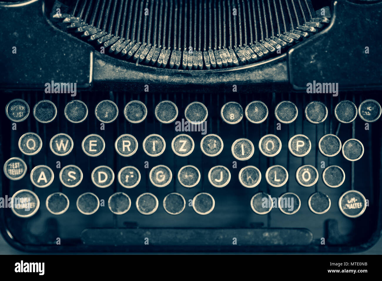 Dirty Vintage Typewriter Keyboard In German Stock Photo 187163351