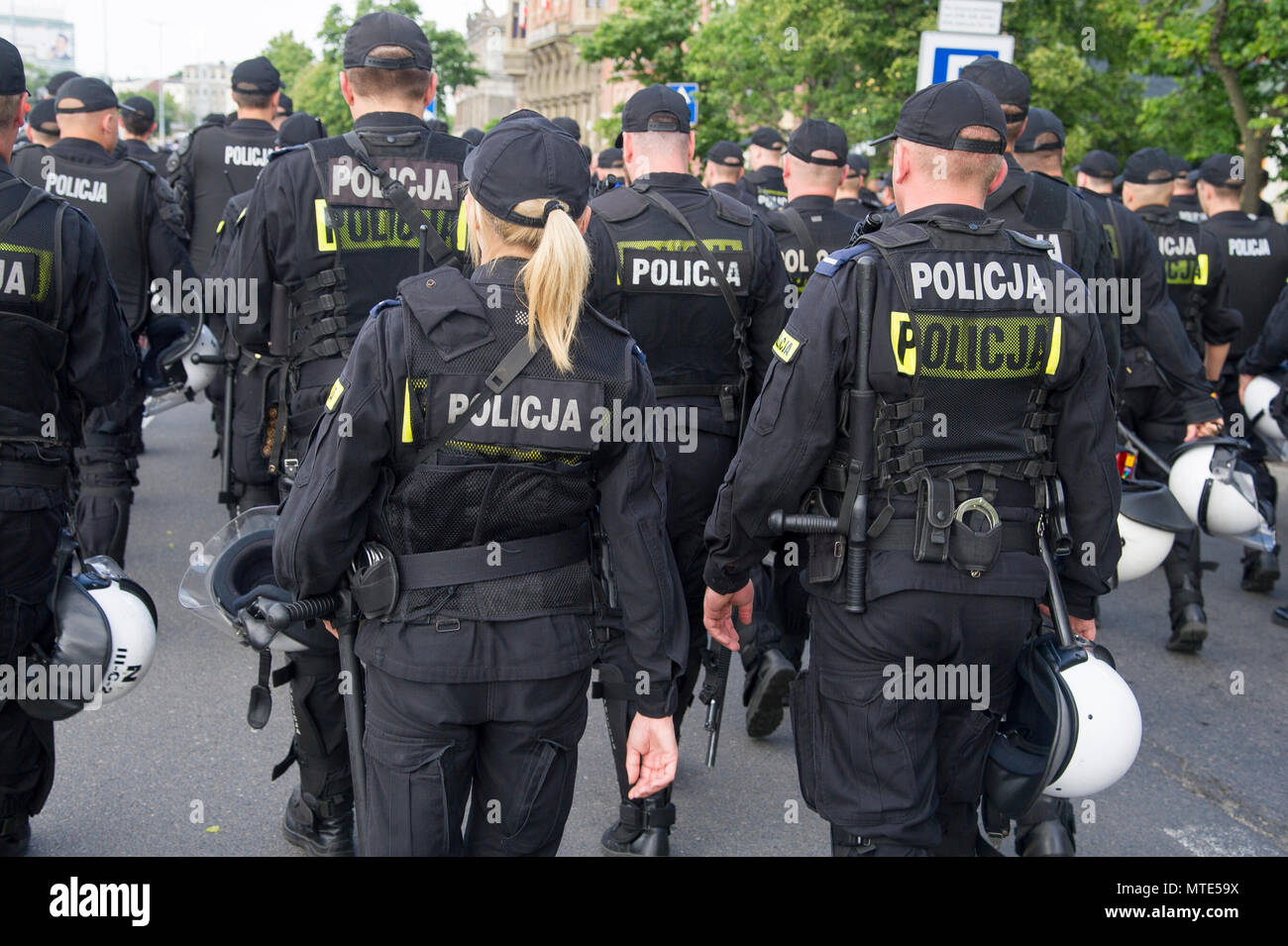 Polish anti-riot police (Oddzialy Prewencji Policji) during The Fourth Tricity Equality March to support LGBT rights in  Gdansk, Poland May 26th 2018  - Stock Image