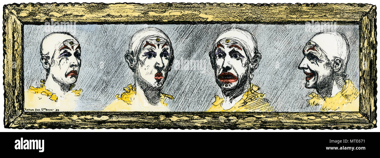 Four facial expressions of a circus clown, 1800s. Hand-colored woodcut - Stock Image