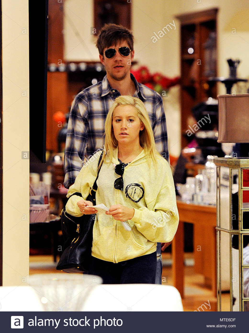 Ashley Tisdale And Her Boyfriend Were Spotted Shopping For Home Decor  Inside A Furniture Store At The Westfield Mall In Sherman Oaks, CA.