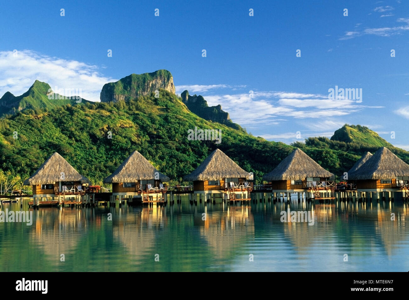 Moana Beach Park Royal Hotel, overwater bungalows, lagoon,  Matira Point,  Bora Bora. Stock Photo