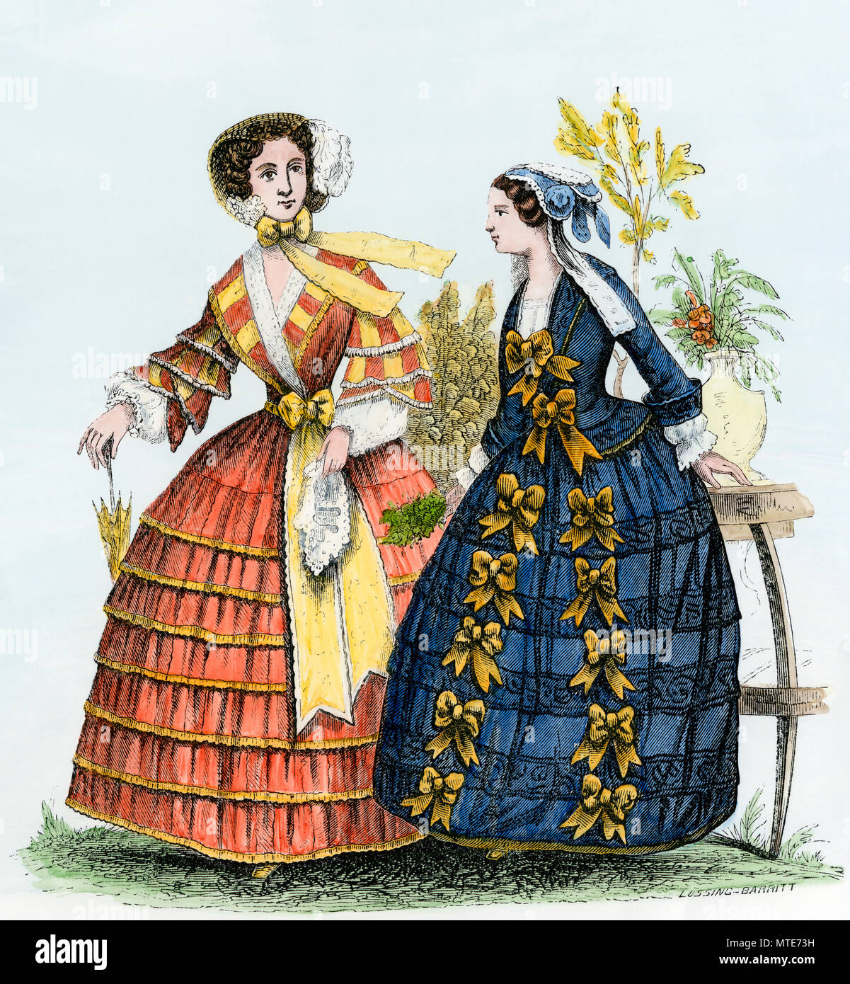 Autumn fashion, 1852: ladies' walking and home-toilet dresses. Hand-colored woodcut - Stock Image