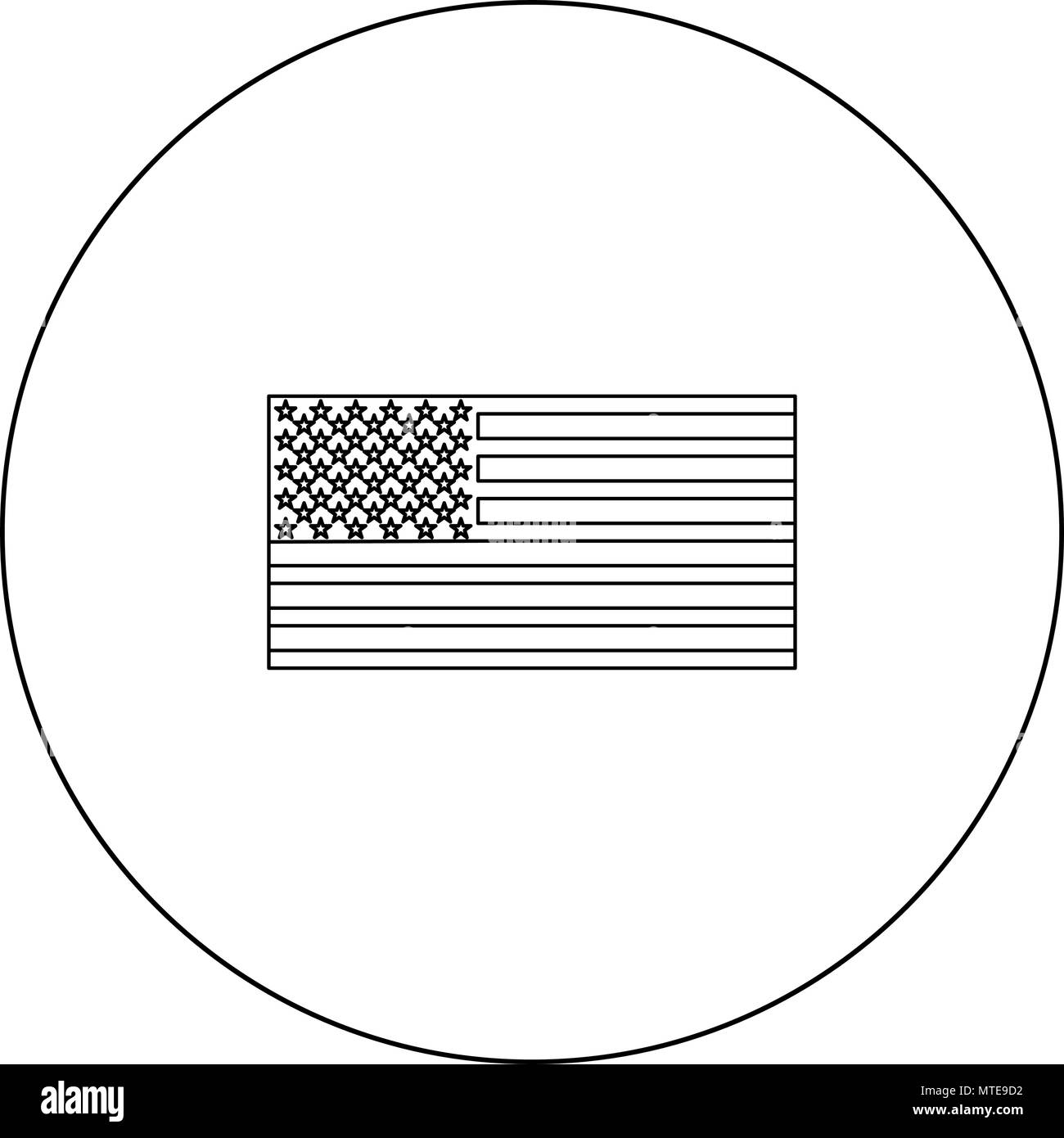 American Flag Icon Black Color In Circle Outline Vector Illustration