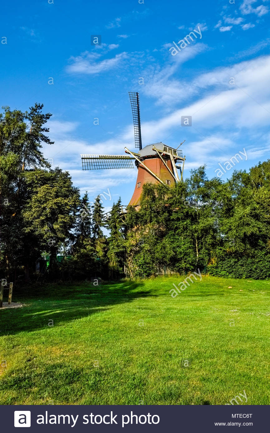 Traditional windmill in Ramsloh, Saterland, Lower Saxony, northern Germany. Stock Photo