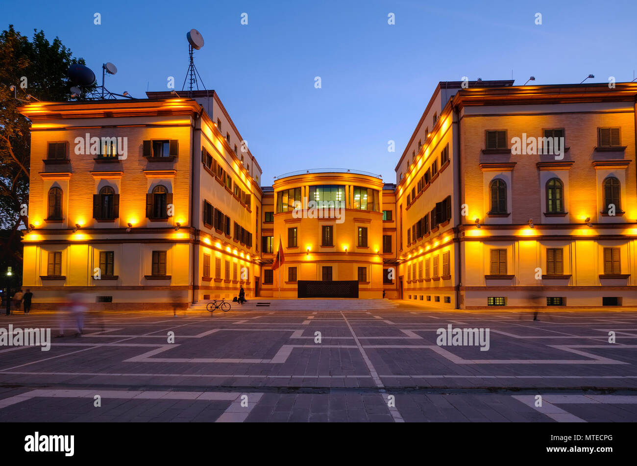 Albanian Ministry of the Interior, Twilight, Tirana, Albania - Stock Image