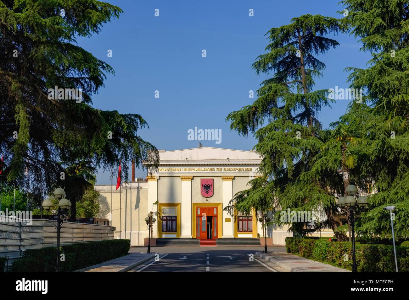 Parliament Building, City Centre, Tirana, Albania - Stock Image