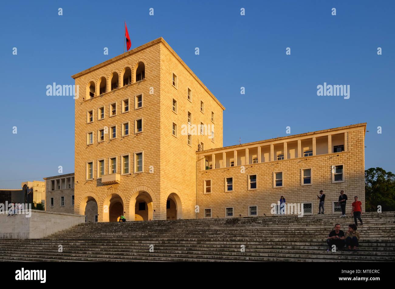University of Tirana at Mother Teresa Square, Tirana, Albania - Stock Image