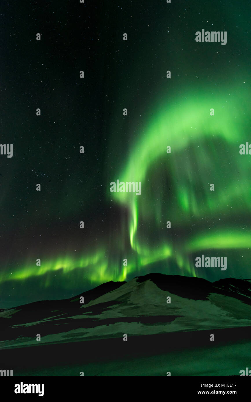 Northern Lights (Aurora borealis), near Mývatn, Norðurland Eystra, Northern Iceland, Iceland - Stock Image