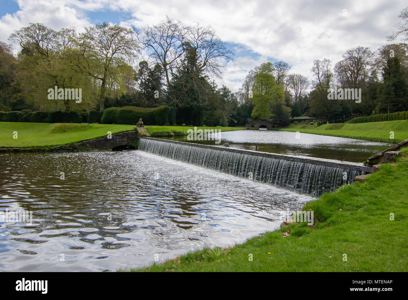River Skell Weir in the grounds of Studley Royal,Ripon,North Yorkshire,England,UK. - Stock Image
