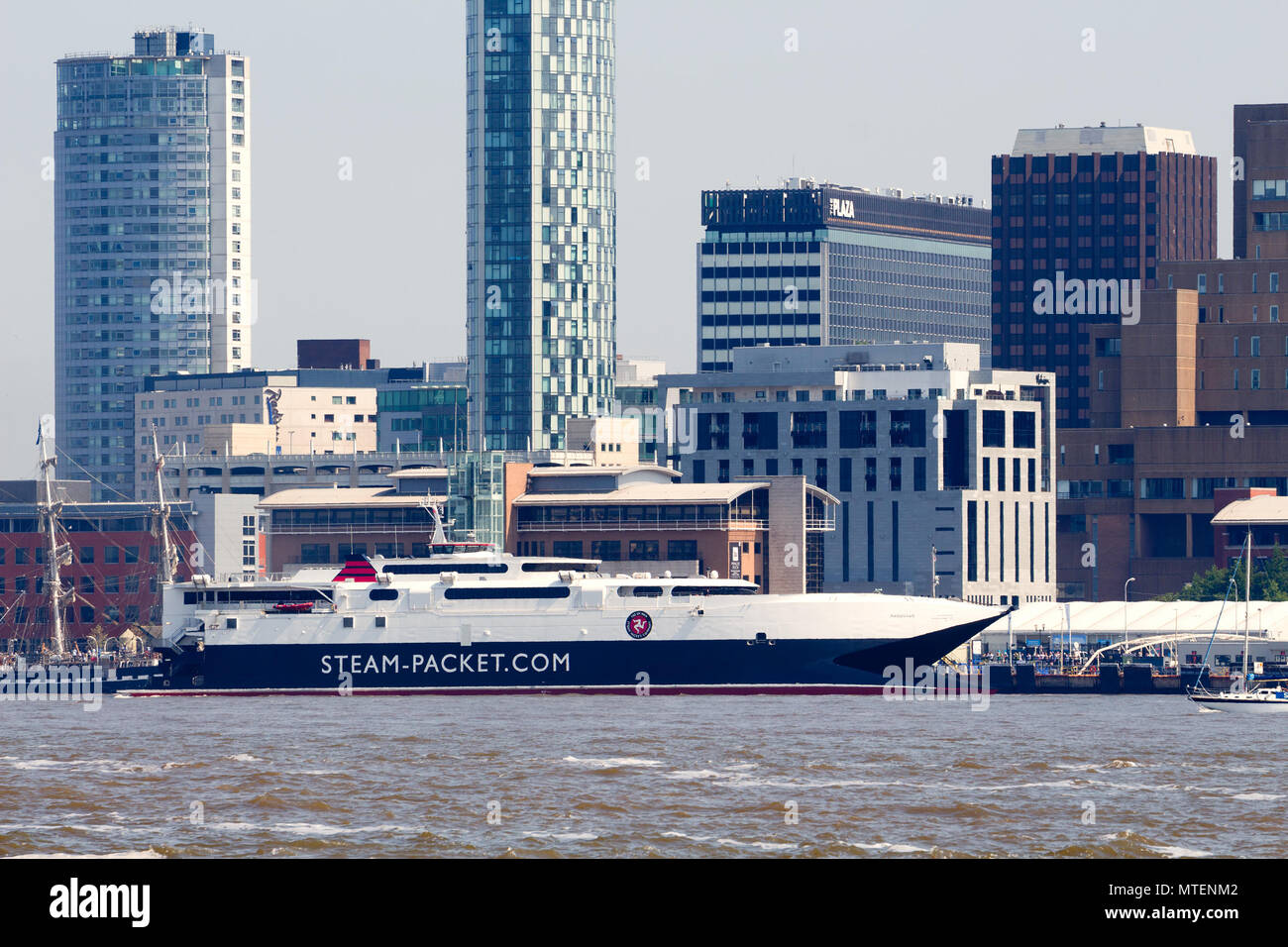 HSC Manannan a high-speed catamaran car ferry that runs between Douglas IOM and Liverpool at berth in Liverpool. - Stock Image